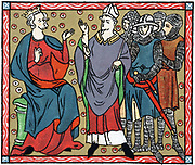 Henry II (1133-1189) King of England from 1154: Henry disputing with Thomas a Becket (1118-1170) Archbishop of Canterbury. Mailed figures are four knights who murdered Becket. Chromolithograph after medieval manuscript.