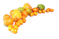 Composition of exotic fruits o white background