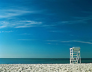 USA, Massachusetts, Hyannis Port, lifeguard chair on beach