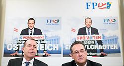 23.04.2019, FPÖ-Medienzentrum, Wien, AUT, FPÖ, Pressekonferenz mit Präsentation der Kampagne zur EU-Wahl. im Bild EU-Spitzenkandidat Harald Vilimsky (FPÖ) und Vizekanzler Heinz-Christian Strache (FPÖ) // Top Candidate for EU-elections Harald Vilimsky (FPOe) and Austrian Vice Chancellor Heinz-Christian Strache during media conference of the Austrian Freedom Party with the campaign presentation for EU elections in Vienna, Austria on 2019/04/23. EXPA Pictures © 2019 PhotoCredit: EXPA/ Michael Gruber