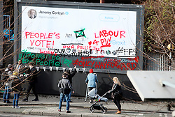 UK ENGLAND LONDON 12FEB19 - The pro-remain Led by Donkeys guerilla poster campaign launch a Jeremy Corbyn poster, which is without a slogan - reflecting his unclear stance on Brexit.<br /> <br /> Instead, the campaign invited members of the public to add their views by lending them a ladder and spraycans.<br /> <br /> jre/Photo by Jiri Rezac<br /> <br /> © Jiri Rezac 2019