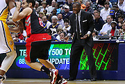 April 09, 2012; Indianapolis, IN, USA; Toronto Raptors head coach Dwane Casey talks to his players from the bench area at Bankers Life Fieldhouse. Indiana defeated Toronto 103-98. Mandatory credit: Michael Hickey-US PRESSWIRE