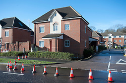 © London News Pictures. 15/02/2014. Hemel Hempstead, UK.  A giant sinkhole measuring 35ft wide by 20ft deep has opened up next to a house in Hemel Hempstead, Hertfordshire.   Photo credit: Ben Cawthra/LNP