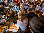 17 APRIL 2019 - DES MOINES, IOWA: US Senator KIRSTEN GILLIBRAND (D-NY) talks to Drake University students during a meet and greet with the students at a restaurant in Des Moines. Gillibrand is touring Iowa this week to support her candidacy to be the Democratic nominee for the US Presidency. Iowa traditionally hosts the the first selection event of the presidential election cycle. The Iowa Caucuses will be on Feb. 3, 2020.               PHOTO BY JACK KURTZ