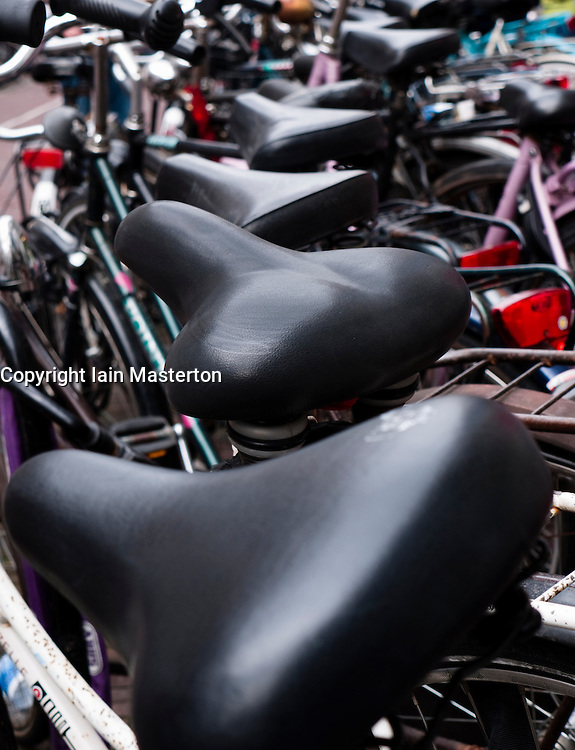 Detail of parked bicycles on street  in Utrecht the Netherlands