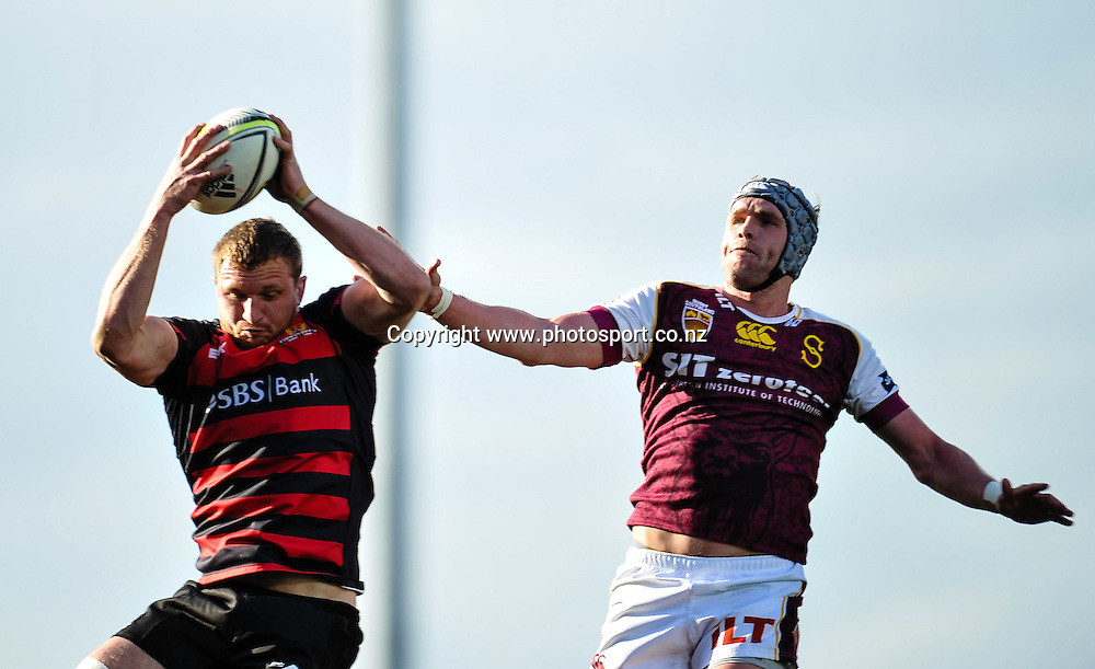 Dominic Bird of Canterbury and Josh Bekhuis of Southland fight for a lineout ball in the ITM Cup match, Canterbury v Southland, at AMI Stadium, Christchurch, 28 September 2014. Photo:John Davidson/www.photosport.co.nz