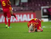 Joy for FYR Macedonia's Igor Aleksovski at full time -  Scotland Under-21 v FYR Macedonia,  UEFA Under 21 championship qualifier  at Tynecastle, Edinburgh. Photo: David Young<br /> <br />  - © David Young - www.davidyoungphoto.co.uk - email: davidyoungphoto@gmail.com
