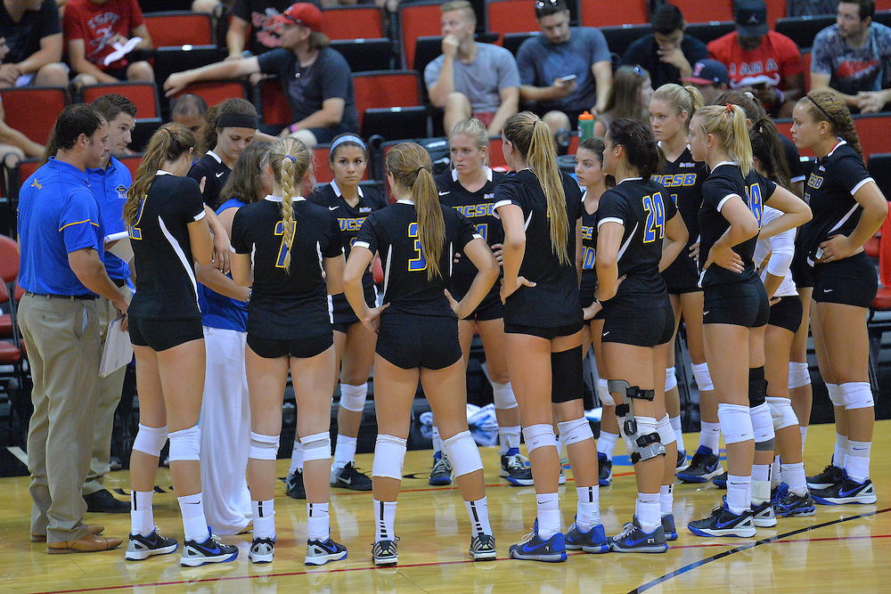 August 26, 2016; Las Vegas, Nev.; The UC Santa Barbara volleyball team huddles in a timeout during a match between the UNLV Lady Rebels and UC Santa Barbara Gauchos. UNLV defeated UCSB 3-0.