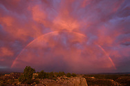Storm over the Rio Grande Valley with sunset light and rainbow, viewed from East Mesa in the Pajarito Plateau, © 2017 David A. Ponton, [Prints to 8x12, 16x24, 20x30 or 24x36 in. with no cropping]
