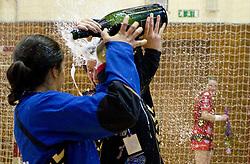 Andrea Lekic and Sergeja Stefanisin during celebration of RK Krim Mercator after the handball game between RK Krim Mercator and ZRK Krka of Liga z'dezele of Slovenian National Championship 2010/2011, on May 14, 2011 in Arena Krim Galjevica, Ljubljana, Slovenia. Krim became Slovenian National Champion 2010//2011. (Photo By Vid Ponikvar / Sportida.com)