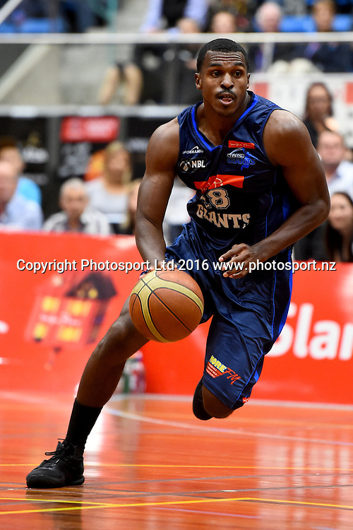 Giants player Raymond Cowles III during their NBL Basketball game Nelson Giants v Waitakere Super City Rangers at the Trafalgar Centre, Nelson, New Zealand. Saturday 16 April 2016. Copyright Photo: Chris Symes / www.photosport.nz