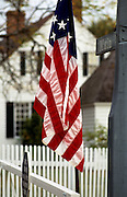 Image of a U.S. flag in Yorktown, Virginia, east coast