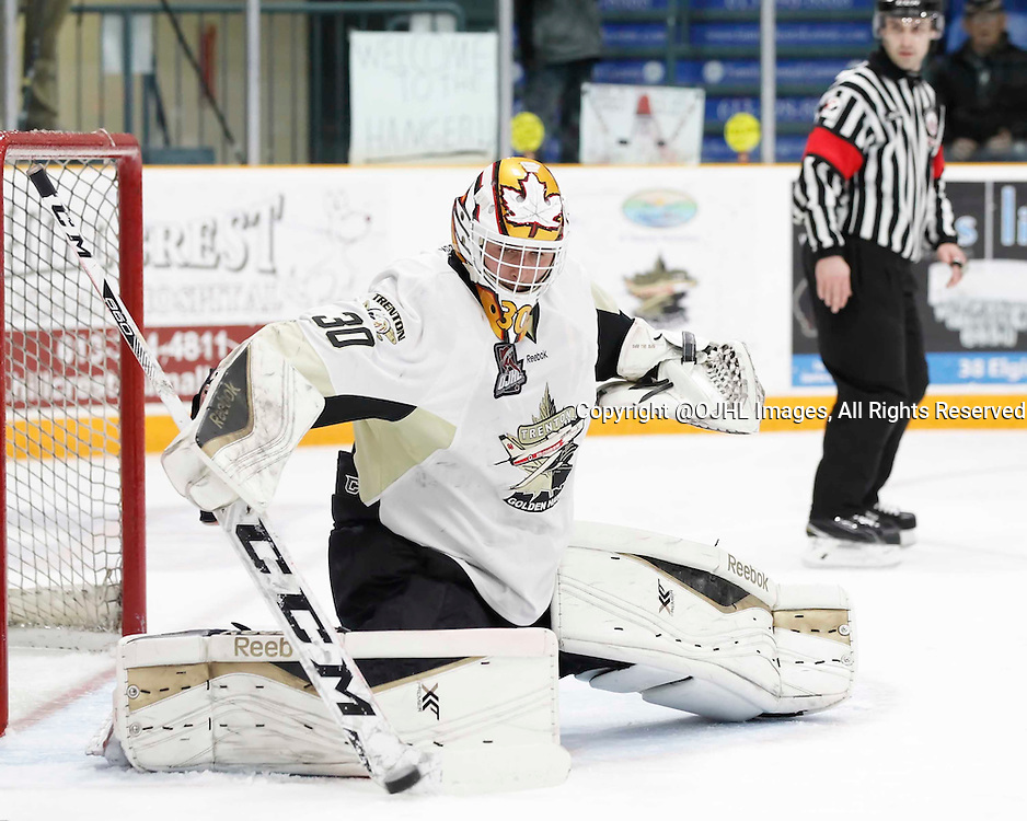 TRENTON, - Apr 17, 2016 -  Ontario Junior Hockey League game action between the Trenton Golden Hawks and the Georgetown Raiders. Game 3 of the Buckland Cup Championship Series, Daniel Urbani #30 of the Trenton Golden Hawks makes the save at the Duncan Memorial Gardens, ON. (Photo by Amy Deroche / OJHL Images)