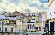 AFRICA, MOROCCO, TANGIER:  Rooftops of old Tangier with clotheslines, satellite dishes, and antennas as seen from the Hotel Continental.