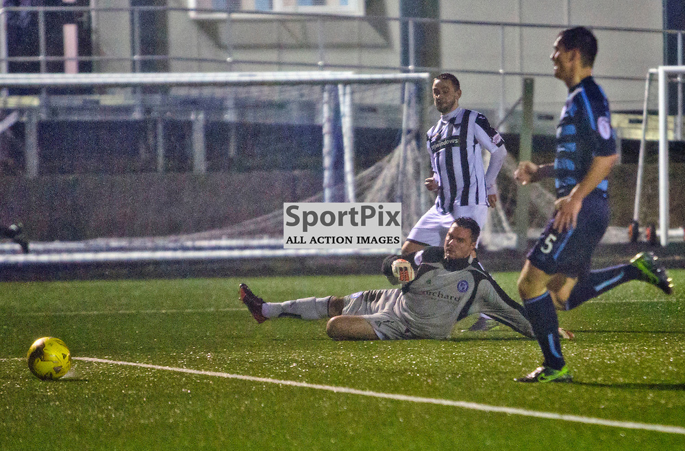 Forfar Athletic v Dunfermline Athletic SPFL League One Season 2015/16 Station Park 26 December 2015<br /> Ryan Wallace slots the ball past Darren Hill to make it 4-2<br /> CRAIG BROWN | sportPix.org.uk