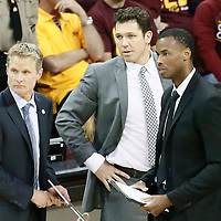 10 June 2016: Golden State Warriors head coach Steve Kerr, Luke Walton and Jarron Collins are seen during the Golden State Warriors 108-97 victory over the Cleveland Cavaliers, during Game Four of the 2016 NBA Finals at the Quicken Loans Arena, Cleveland, Ohio, USA.