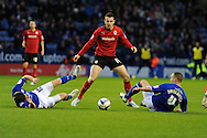 Cardiff city's Jordon Mutch © is blocked by Leicester's Andy King (l) and Danny Drinkwater ®.  NPower championship, Leicester city v Cardiff city at the King Power stadium in Leicester on Saturday 22nd Dec 2012. pic by Andrew Orchard, Andrew Orchard sports photography,