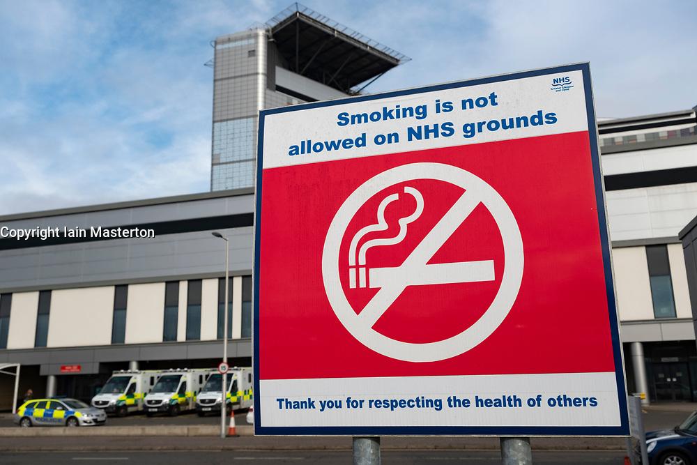No smoking sign in outdoor area at Queen Elizabeth University Hospital in Glasgow, Scotland, UK