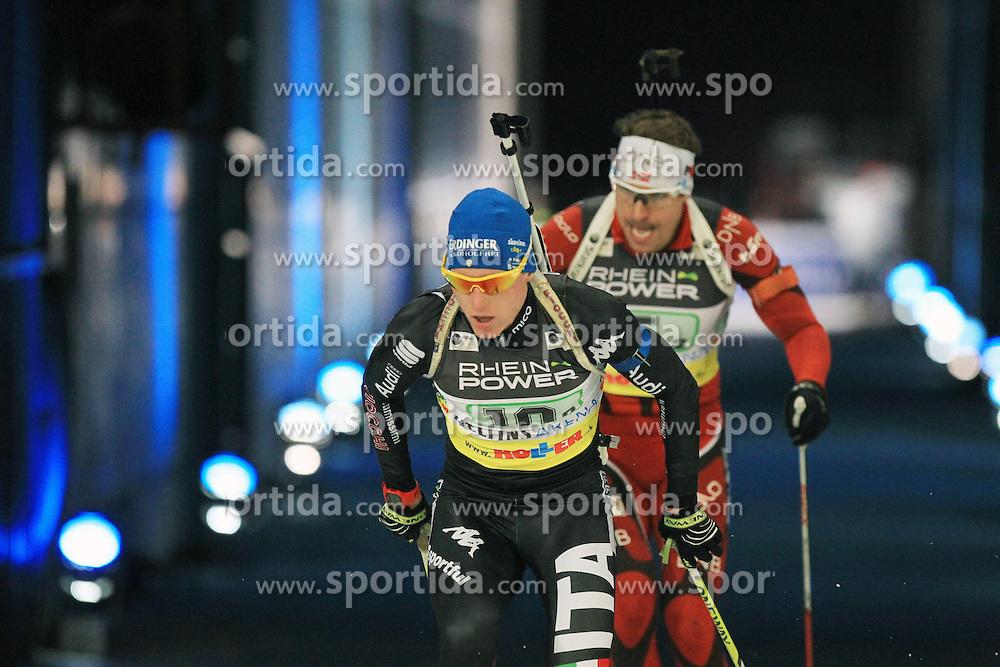 28.12.2013, Veltins Arena, Gelsenkirchen, GER, IBU Biathlon, Biathlon World Team Challenge 2013, im Bild Lukas Hofer (Italien / Italy) // during the IBU Biathlon World Team Challenge 2013 at the Veltins Arena in Gelsenkirchen, Germany on 2013/12/28. EXPA Pictures &copy; 2013, PhotoCredit: EXPA/ Eibner-Pressefoto/ Schueler<br /> <br /> *****ATTENTION - OUT of GER*****