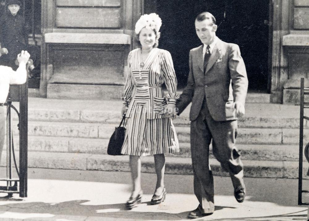 couple leaving church France ca 1960s
