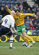 Preston - Saturday February 14th, 2009: Richard Chaplow of Preston North End and Alan Gow of Norwich City during the Coca Cola Championship match at Deepdale, Preston. (Pic by Michael Sedgwick/Focus Images)