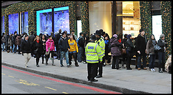 Shoppers queue outside Harrods waiting for the Harrods Christmas Sale to open, Tuesday December 27, 2011. Photo By Andrew Parsons/i-Images