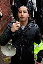 © under license to London News Pictures. 13/12/2010 Two suspected members of Muslims Against Crusades have been charged after allegedly burning poppies on Armistice Day, 11/11/2010. Abu Assadullah chants in to a megaphone at the demonstration.