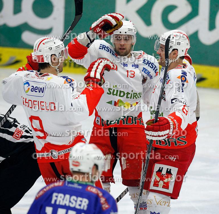 01.02. 2014, Stadthalle, Villach, AUT, EBEL, EC VSV vs HCB Suedtirol, 6. Plazierungsrunde, im Bild der Jubel von Rick Schofield (HCB Suedtirol,#9), Ziga Pance (HCB Suedtirol,#13) und Marco Insam (HCB Suedtirol,#8) // during the Erste Bank Icehockey League 6. Placing round between EC VSV vs HCB Suedtirol at the City Hall, Villach, Austria, 2014/02/01, EXPA Pictures © 2014, PhotoCredit: EXPA/ Oskar Hoeher
