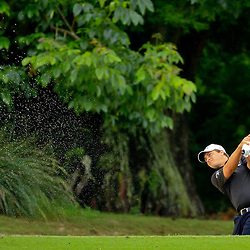May 2, 2016; Avondale, LA, USA; Brian Stuard hits from the sand on the eighth hole during the continuation of the third round of the 2016 Zurich Classic of New Orleans at TPC Louisiana. The tournament has been shortened to 54 holes due to weather delays throughout the week. Mandatory Credit: Derick E. Hingle-USA TODAY Sports