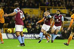 Alan Hutton of Aston Villa takes a shot at goal - Mandatory by-line: Dougie Allward/JMP - 14/01/2017 - FOOTBALL - Molineux - Wolverhampton, England - Wolverhampton Wanderers v Aston Villa - Sky Bet Championship