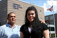 &quot;I compare myself to a turtle&quot; says Arquianys Martinez, 15,. She will receive her high school diploma from Lawrence High School on June7/2009. <br /> <br /> Arquianys, originally from Dominican Republic came to US when she was 8 years old.<br /> <br /> She managed to learned English while enrolled in several after-school programs. This photo shows her with Arquimedes Martinez, her father.