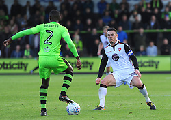 Michael Rose of Morecambe tries to hold off Dale Bennett of Forest Green Rovers  - Mandatory by-line: Nizaam Jones/JMP - 28/10/2017 - FOOTBALL - New Lawn Stadium - Nailsworth, England - Forest Green Rovers v Morecambe - Sky Bet League Two
