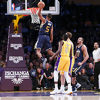05 December 2016: Utah Jazz guard Rodney Hood (5) goes for the dunk during the Utah Jazz 107-101 victory over the Los Angeles Lakers, at the Staples Center, Los Angeles, California, USA.