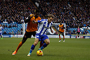 Stevie May takes on Kortney Hause during the Sky Bet Championship match between Sheffield Wednesday and Wolverhampton Wanderers at Hillsborough, Sheffield, England on 13 December 2014. Photo by Richard Greenfield.