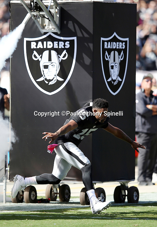 Oakland Raiders wide receiver Michael Crabtree (15) appears to fly low as he runs onto the field during pregame player introductions before the 2015 NFL week 5 regular season football game against the Denver Broncos on Sunday, Oct. 11, 2015 in Oakland, Calif. The Broncos won the game 16-10. (©Paul Anthony Spinelli)