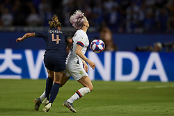 June 28, 2019 - Paris, France - Megan Rapinoe (Reign FC) of United States and Marion Torrent (Montpellier HSC) of France battle for the ball during the 2019 FIFA Women's World Cup France Quarter Final match between France and USA at Parc des Princes on June 28, 2019 in Paris, France. (Credit Image: © Jose Breton/NurPhoto via ZUMA Press)