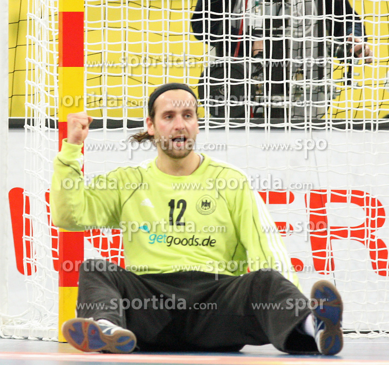 20.01.2013 Barcelona, Spain. IHF men's world championship, eighth.final. Picture show Silvio Heinevetter  in action during game between Germany  vs FYRO Macedonia at Palau st Jordi / Sportida Photo Agency