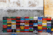 Fishermen's plastic and colourful boxes creating a pattern of patchwork, old city, Portuguese Fortified city of Mazagan, El Jadida, Morocco. El Jadida, previously known as Mazagan (Portuguese: Mazag√£o), was seized in 1502 by the Portuguese, and they controlled this city until 1769. Picture by Manuel Cohen