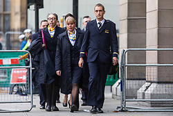 © Licensed to London News Pictures. 15/10/2019. London, UK. Former Thomas Cook employees arrive at Portcullis House as company executives take part in a Business, Energy and Industrial Strategy Oral Evidence Session. The firm recently went out of business, endangering thousands of jobs. Photo credit: Rob Pinney/LNP
