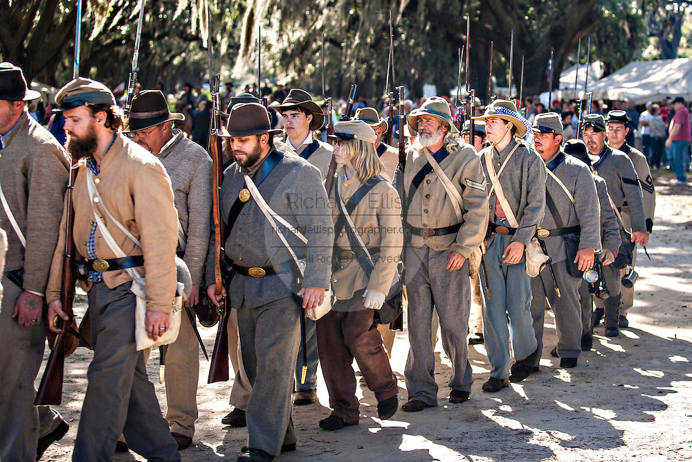 Confederate Civil War historic living history re-enactment of the Battle of Secessionville at Boone Hall Plantation November 9, 2008 in Mount Pleasant, SC.  The battle recreates the defeat of Union forces in 1862 in the only attempt to capture Charleston during the Civil War.