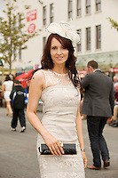Liz Greehy from stylebible.ie at the Friday evening Meeting of the Galway Races. Photo:Andrew Downes