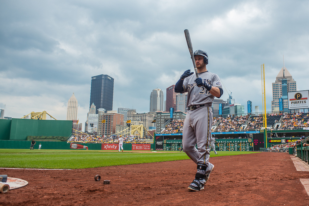 PITTSBURGH, PA - JUNE 08: Jonathan Lucroy #20 of the Milwaukee Brewers warms up during the game against the Pittsburgh Pirates at PNC Park on June 8, 2014 in Pittsburgh, Pennsylvania. (Photo by Rob Tringali) *** Local Caption *** Jonathan Lucroy