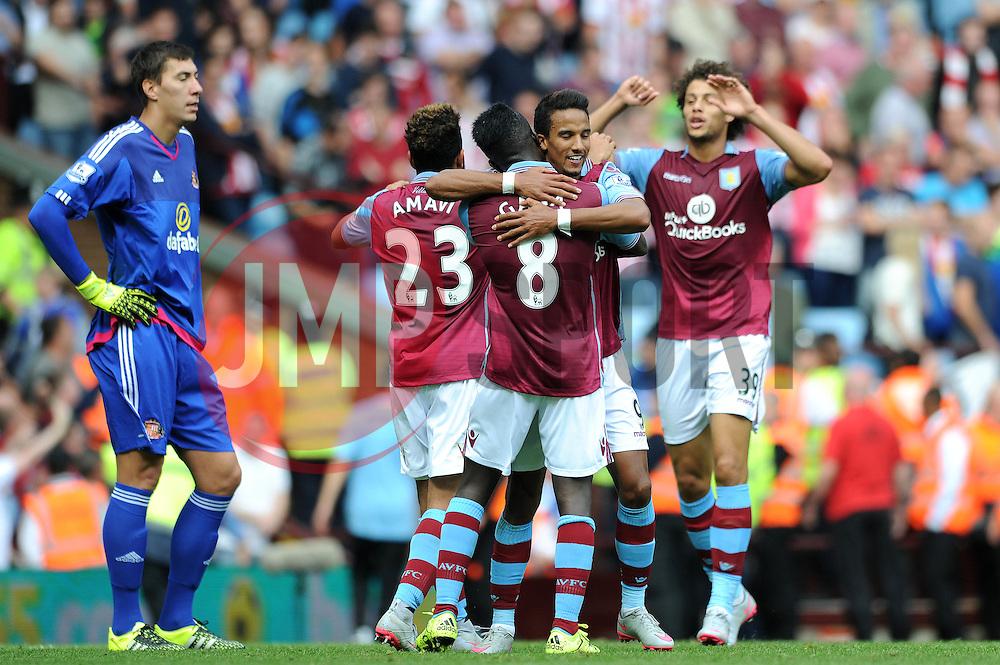 Scott Sinclair of Aston Villa celebrates his second goal with Idrissa Gueye of Aston Villa - Mandatory byline: Dougie Allward/JMP - 07966386802 - 29/08/2015 - FOOTBALL - Villa Park -Birmingham,England - Aston Villa v Sunderland - Barclays Premier League