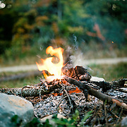 Breakfast campfire at basecamp on a logging road in New Hampshire
