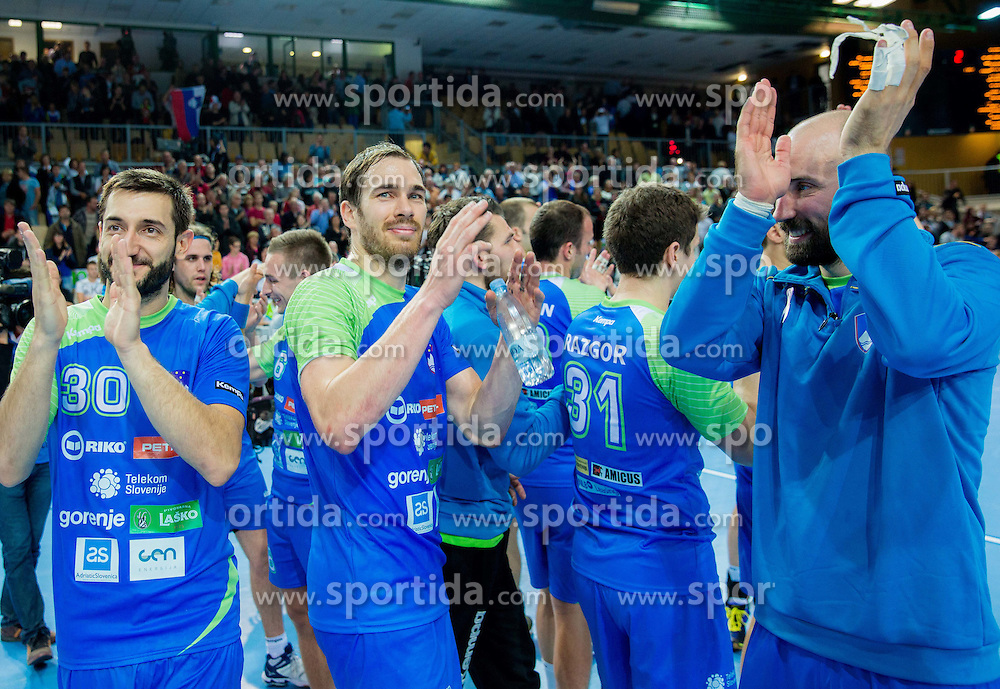 Dragan Gajic, Jure Natek, Vid Kavticnik of Slovenia after the handball match between National Teams of Slovenia and Slovakia in Qualification 2 of 2016 Men's European Championship, on October 29, 2014 in Arena Bonifika, Koper, Slovenia. Photo by Vid Ponikvar / Sportida