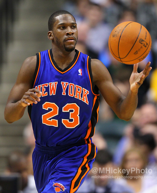 April 10, 2011; Indianapolis, IN, USA; New York Knicks guard Toney Douglas (23) brings the ball up court against the Indiana Pacers at Conseco Fieldhouse. Mandatory credit: Michael Hickey-US PRESSWIRE