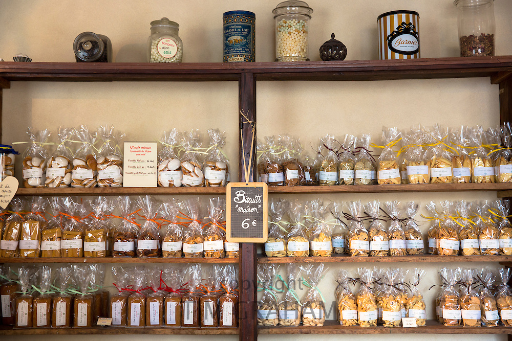Display of biscuits for sale at cafe La Rose de Vergy in Rue de la Chouette in Dijon in the Burgundy region of France