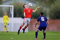 NEWPORT, WALES - Sunday, September 24, 2017: Wales' Liam Higgins during an Under-16 International friendly match between Wales and Gibraltar at the Newport Stadium. (Pic by David Rawcliffe/Propaganda)
