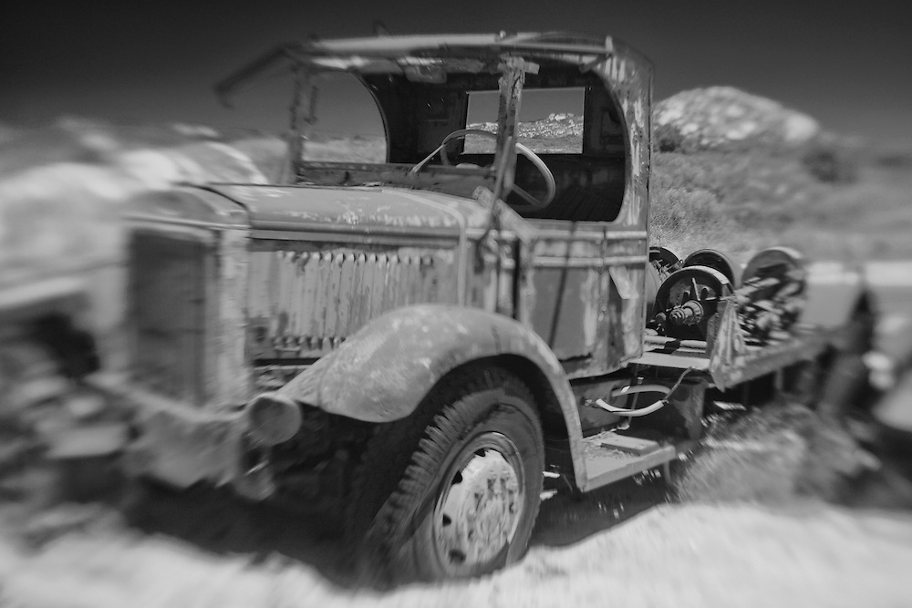 Rusted Mack Truck - Motor Transport Museum - Campo, CA - Lensbaby - Infrared Black & White