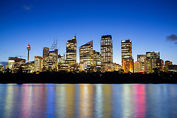 Evening view of skyline of financial district in Sydney Australia